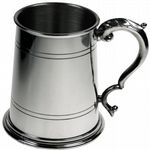 1pt Double Lines Fancy Handle Pewter Tankard